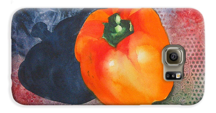 Pepper Galaxy S6 Case featuring the painting Red Pepper Solo by Jean Blackmer