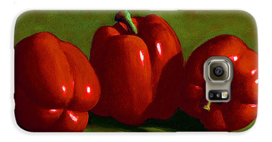 Red Peppers Galaxy S6 Case featuring the painting Red Peppers by Frank Wilson
