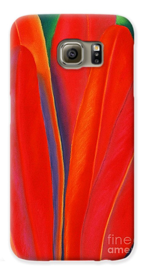 Red Galaxy S6 Case featuring the painting Red Petals by Lucy Arnold