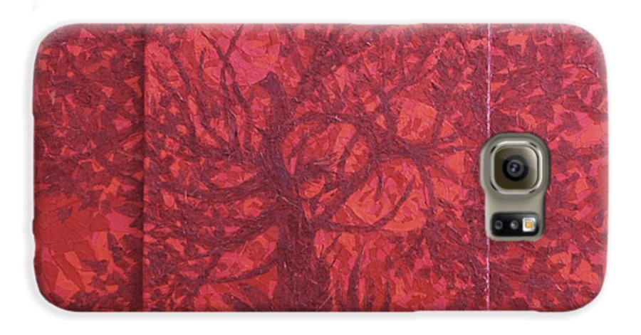 Red Galaxy S6 Case featuring the painting Red Planet by Judy Henninger