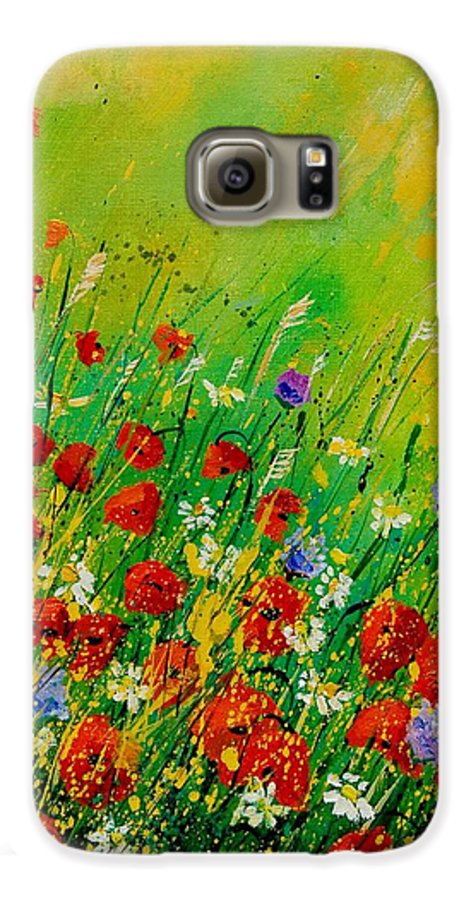 Flowers Galaxy S6 Case featuring the painting Red Poppies 450708 by Pol Ledent