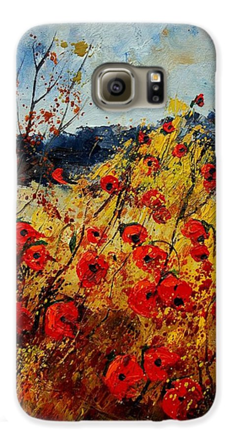 Poppies Galaxy S6 Case featuring the painting Red Poppies In Provence by Pol Ledent