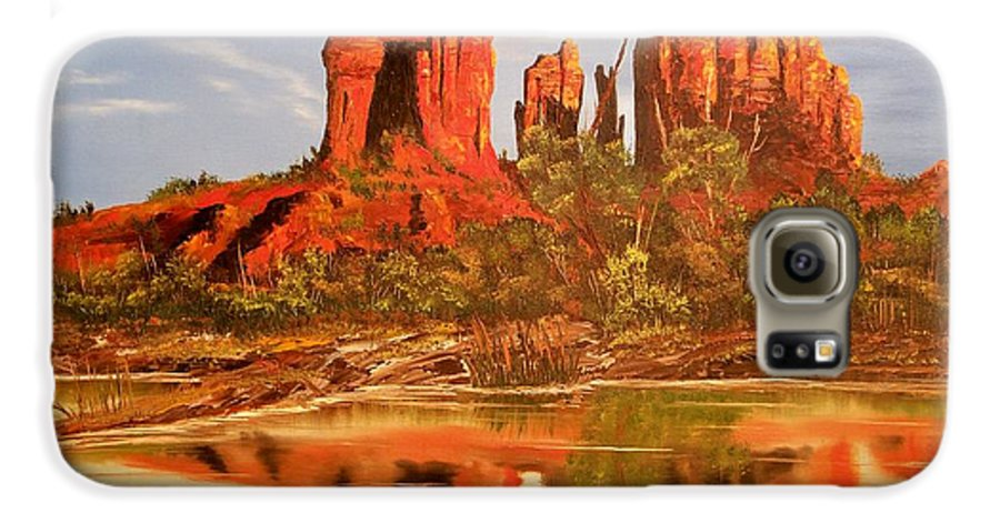 Rocks Galaxy S6 Case featuring the painting Red Rock by Patrick Trotter