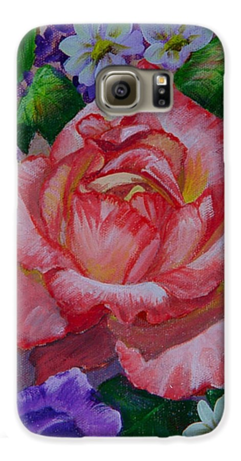 Rose Galaxy S6 Case featuring the painting Red Rose by Quwatha Valentine
