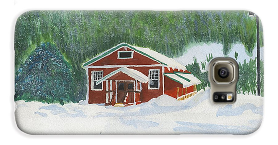 Schoolhouse Galaxy S6 Case featuring the painting Red School House by Louise Magno