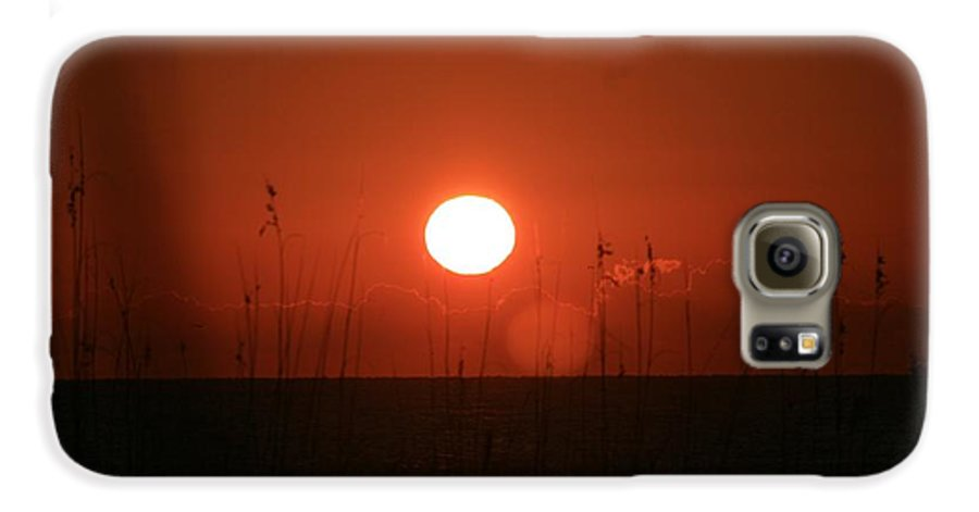 Sunset Galaxy S6 Case featuring the photograph Red Sunset And Grasses by Nadine Rippelmeyer