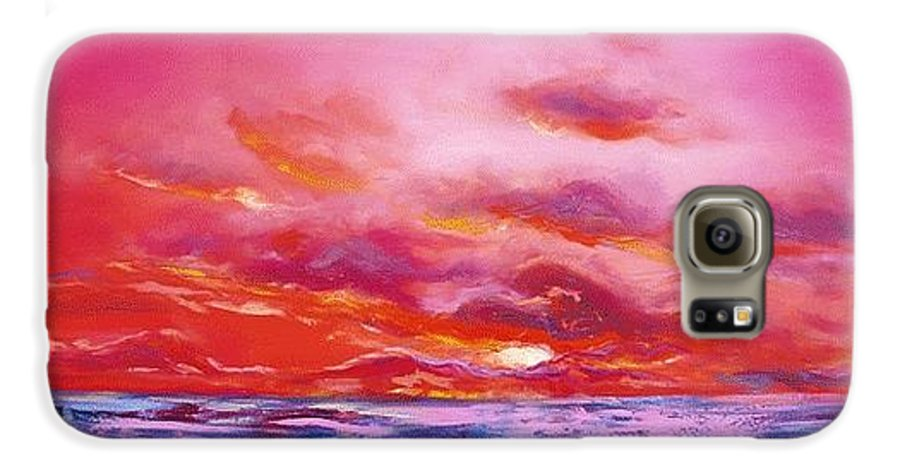 Red Galaxy S6 Case featuring the painting Red Sunset by Gina De Gorna