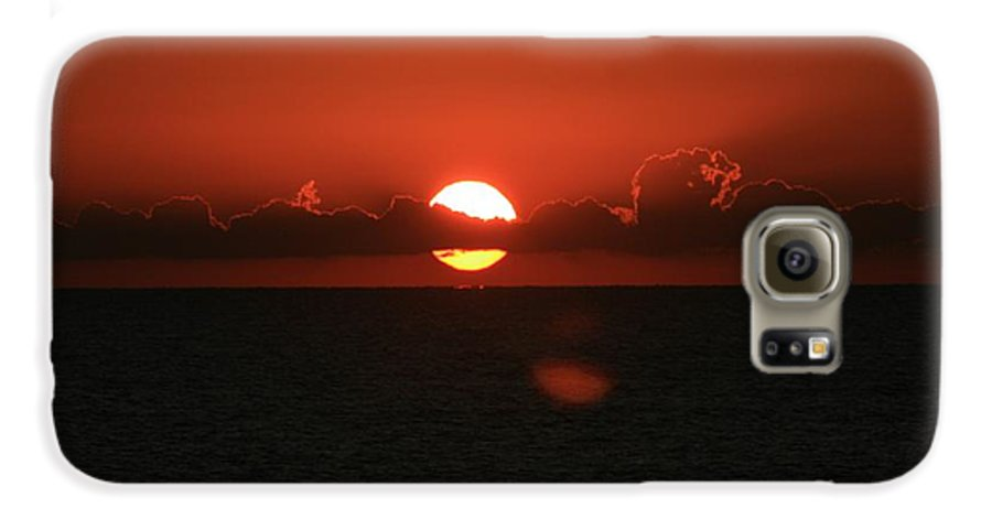 Sunset Galaxy S6 Case featuring the photograph Red Sunset Over The Atlantic by Nadine Rippelmeyer