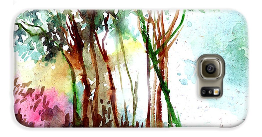 Landscape Galaxy S6 Case featuring the painting Red Trees by Anil Nene