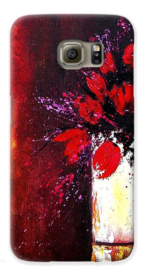 Flowers Galaxy S6 Case featuring the painting Red Tulips by Pol Ledent
