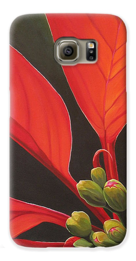 Poinsettia Closeup Galaxy S6 Case featuring the painting Red Velvet by Hunter Jay