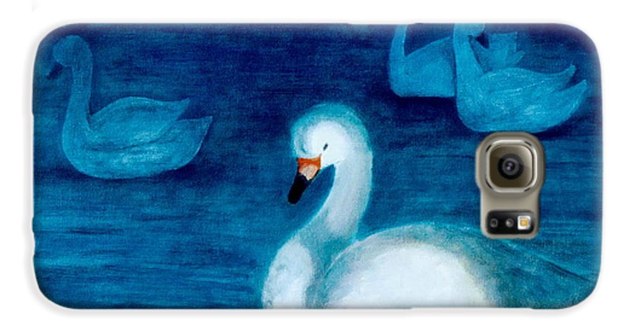 Duck Galaxy S6 Case featuring the painting Reflections 1 by Jun Jamosmos