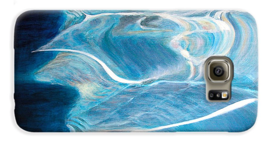 Abstract Galaxy S6 Case featuring the painting Reflet by Muriel Dolemieux