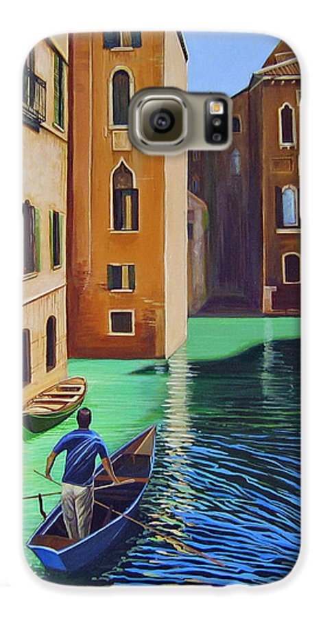 Canal In Venice Galaxy S6 Case featuring the painting Remembering Venice by Hunter Jay