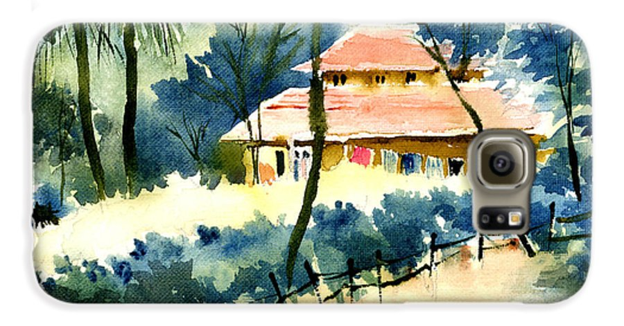 Landscape Galaxy S6 Case featuring the painting Rest House by Anil Nene