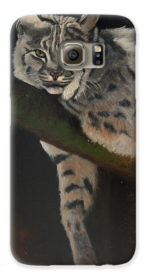 Bobcat Galaxy S6 Case featuring the painting Resting Up High by Greg Neal