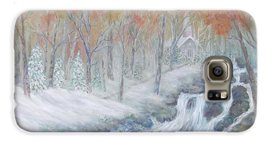 Snow; Landscape; Church Galaxy S6 Case featuring the painting Reverence by Ben Kiger