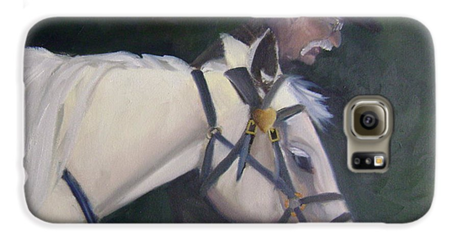 Old Man Horse... Galaxy S6 Case featuring the painting revised- Man's Best Friend by Toni Berry