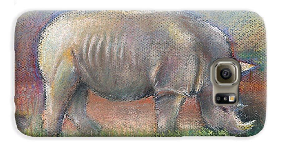 Rhino Galaxy S6 Case featuring the pastel Rhino by Arline Wagner
