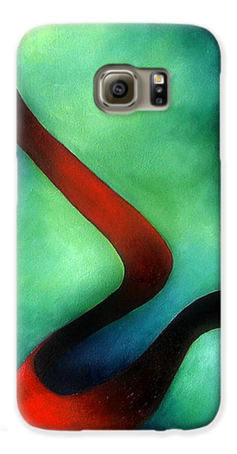 Red Galaxy S6 Case featuring the painting Ribbon Of Time by Elizabeth Lisy Figueroa