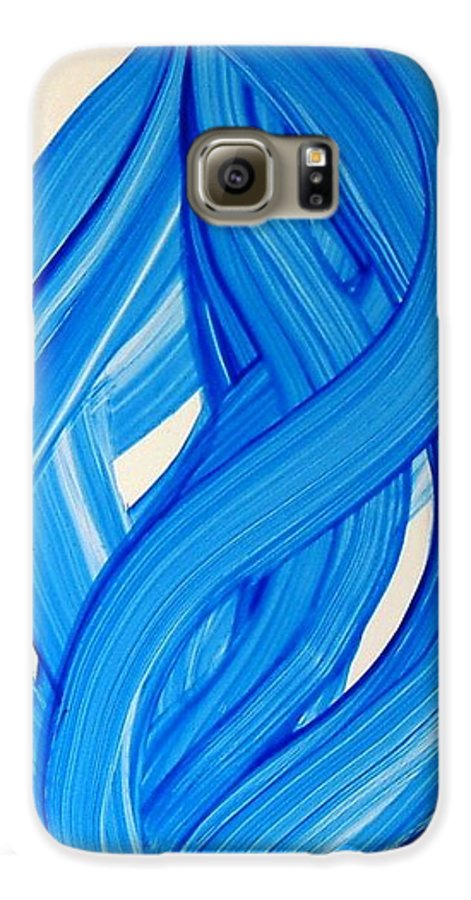 Abstract Modern Contemporary Yupo Art Painting Romantic Pop Blue Galaxy S6 Case featuring the painting Ribbons Of Love-blue by Manjiri Kanvinde