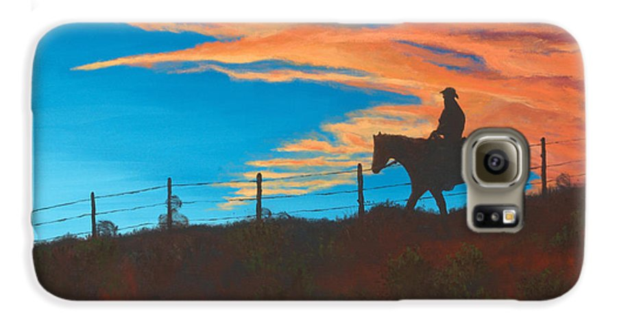 Cowboy Galaxy S6 Case featuring the painting Riding Fence by Jerry McElroy