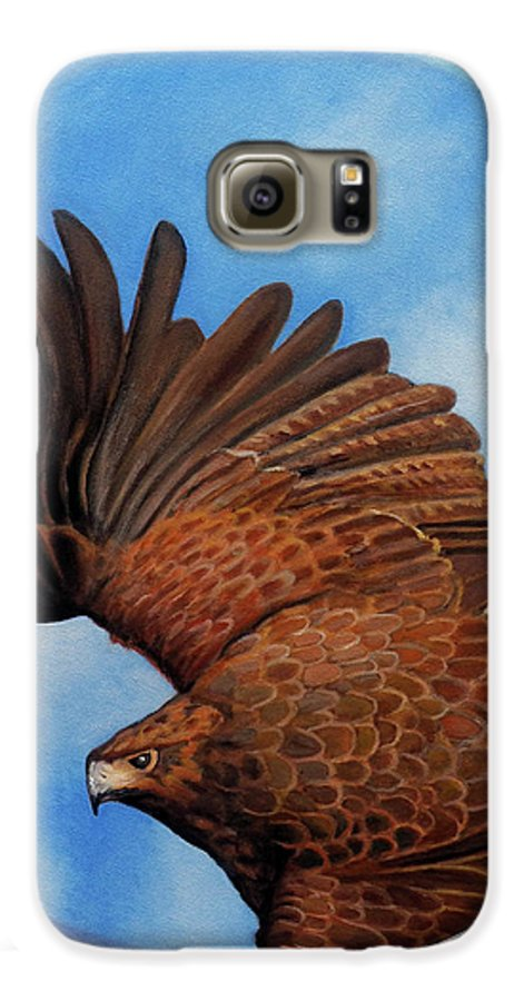 Hawk Galaxy S6 Case featuring the painting Riding The Wind by Brian Commerford