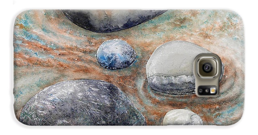 Abstract Galaxy S6 Case featuring the painting River Rock 2 by Valerie Meotti