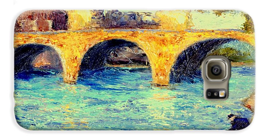Impressionism Galaxy S6 Case featuring the painting River Seine Bridge by Gail Kirtz