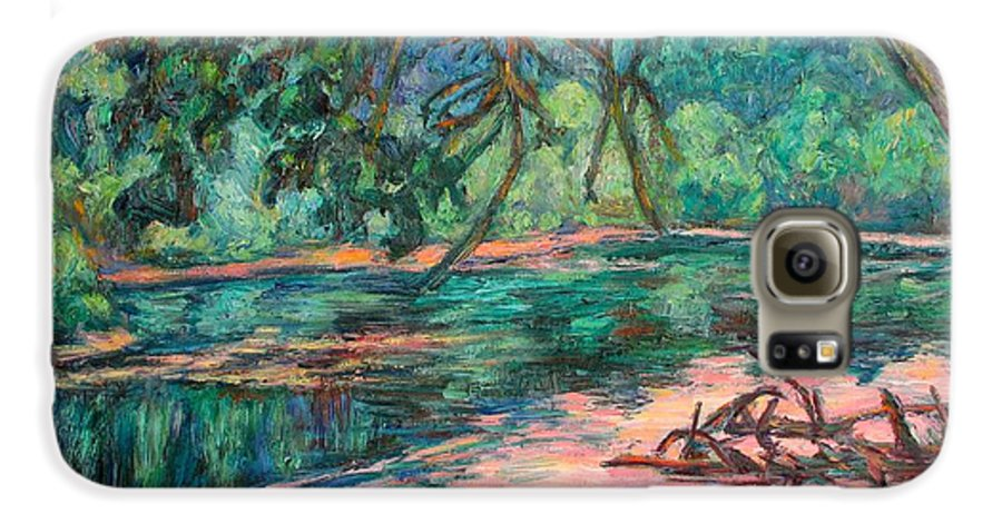 Riverview Park Galaxy S6 Case featuring the painting Riverview At Dusk by Kendall Kessler