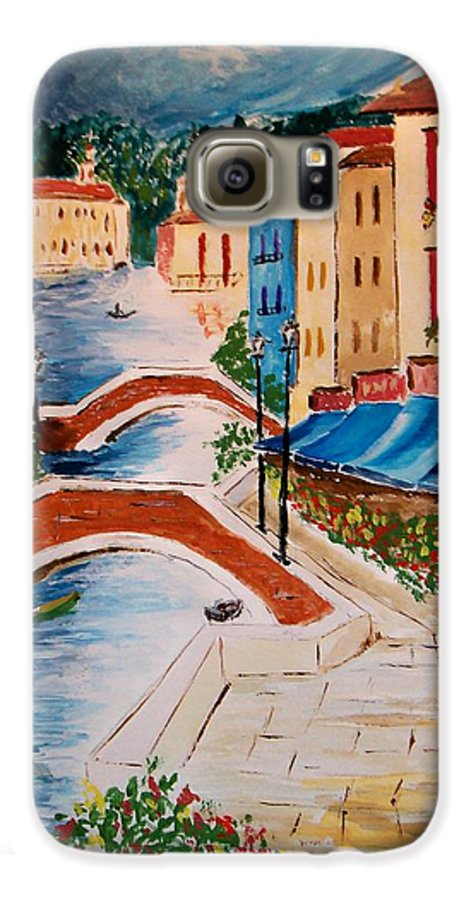 Canal Galaxy S6 Case featuring the painting Riverwalk by Leo Gordon