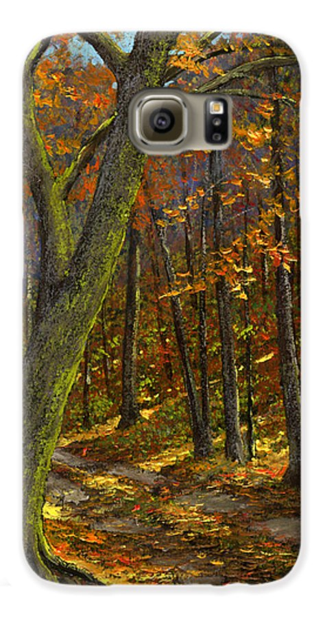 Landscape Galaxy S6 Case featuring the painting Road In The Woods by Frank Wilson