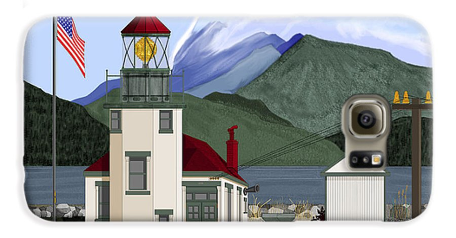 Point Robinson Lighthouse Galaxy S6 Case featuring the painting Robinson Point With Mount Rainier by Anne Norskog
