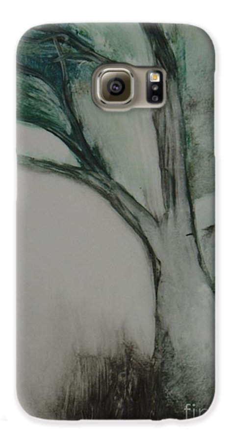 Monoprint Tree Rock Trees Galaxy S6 Case featuring the painting Rock Tree by Leila Atkinson
