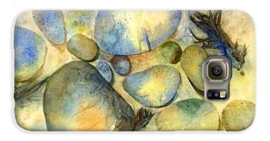 Rocks And Feathers Galaxy S6 Case featuring the painting Rocks And Feather by Marlene Gremillion