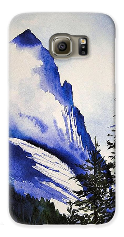 Rocky Mountains Galaxy S6 Case featuring the painting Rocky Mountain High by Karen Stark