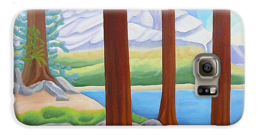 Landscape Galaxy S6 Case featuring the painting Rocky Mountain View 1 by Lynn Soehner