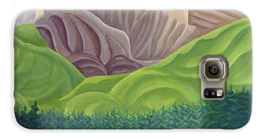 Landscape Galaxy S6 Case featuring the painting Rocky Mountain View 4 by Lynn Soehner