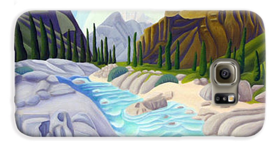 Landscape Galaxy S6 Case featuring the painting Rocky Mountain View 5 by Lynn Soehner