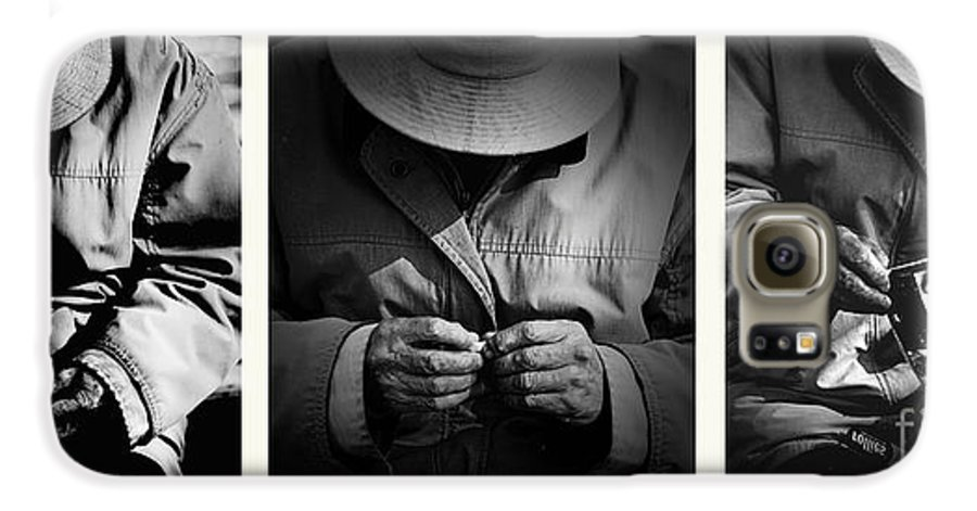 Rollup Rolling Cigarette Smoker Smoking Man Hat Monochrome Galaxy S6 Case featuring the photograph Rolling His Own by Sheila Smart Fine Art Photography