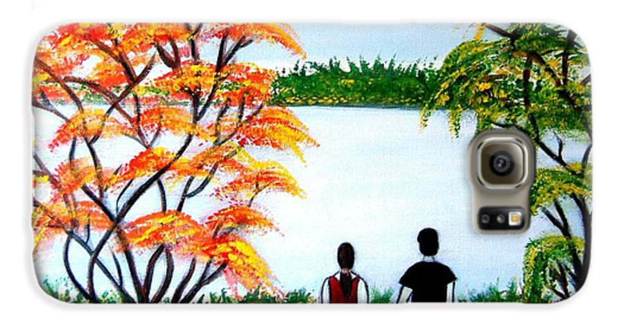 Romance Figures Autumn Orange Trees Green Pop Water Lake Love Valentine Yellow Lake Spring Bloom Galaxy S6 Case featuring the painting Romance In Autumn by Manjiri Kanvinde