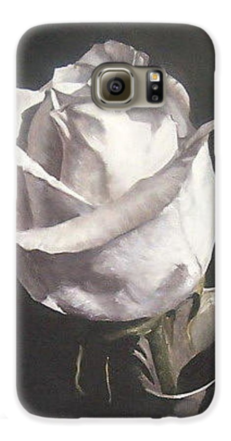 Rose Floral Nature White Flower Galaxy S6 Case featuring the painting Rose 2 by Natalia Tejera