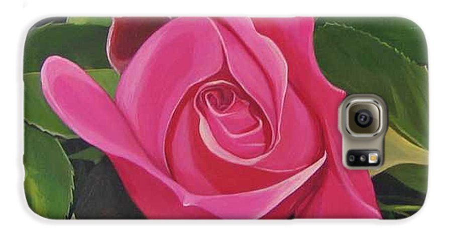 Pink Rose Galaxy S6 Case featuring the painting Rose Arcana by Hunter Jay