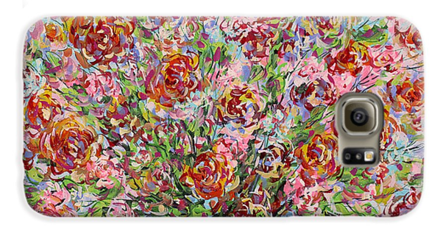 Flowers Galaxy S6 Case featuring the painting Rose Bouquet In Glass Vase by Leonard Holland