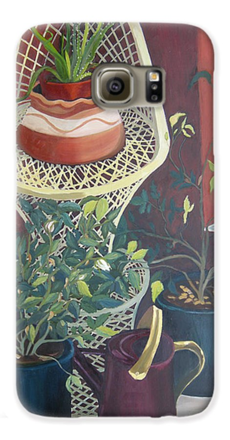 Still Life Galaxy S6 Case featuring the painting Rose Buds by Antoaneta Melnikova- Hillman