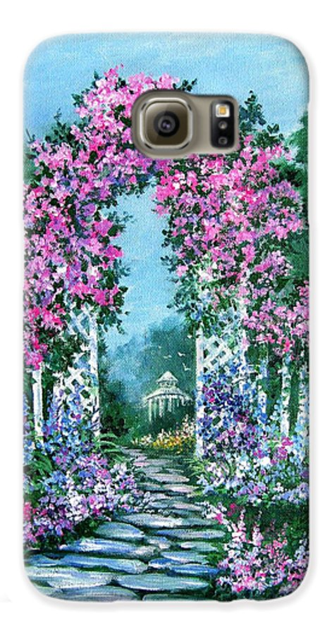 Roses;floral;garden;picket Fence;arch;trellis;garden Walk;flower Garden; Galaxy S6 Case featuring the painting Rose-covered Trellis by Lois Mountz