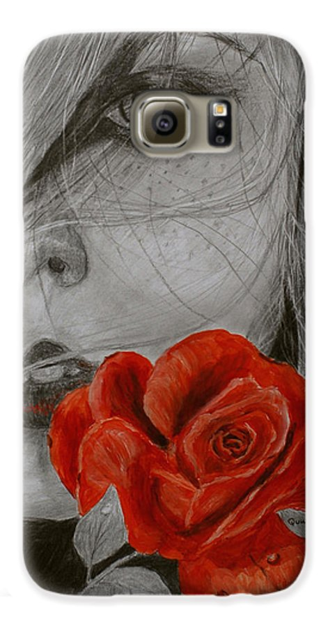 Woman Galaxy S6 Case featuring the painting Rose Kisses by Quwatha Valentine