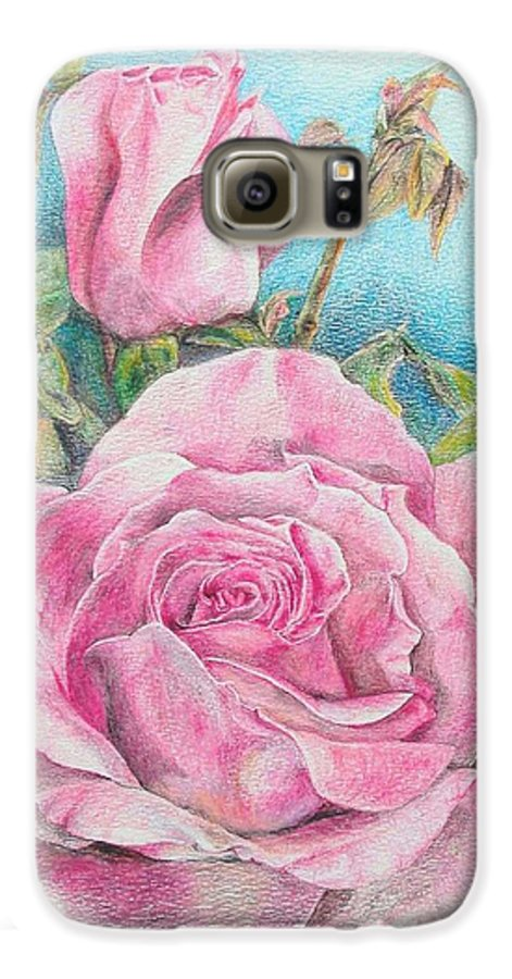 Flower Galaxy S6 Case featuring the painting Rose by Muriel Dolemieux
