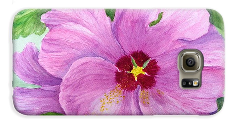 Watercolour Galaxy S6 Case featuring the painting Rose Of Sharon by Peggy King