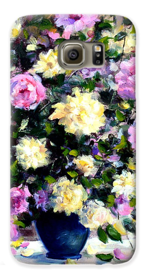 Roses Galaxy S6 Case featuring the painting Roses by Mario Zampedroni
